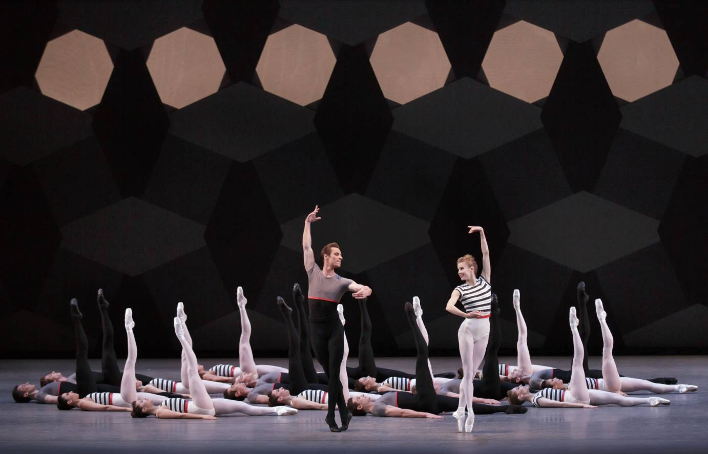 Andrew Veyette, Sterling Hyltin, and Company in Justin Peck's Everywhere We Go. Photo credit Paul Kolnik