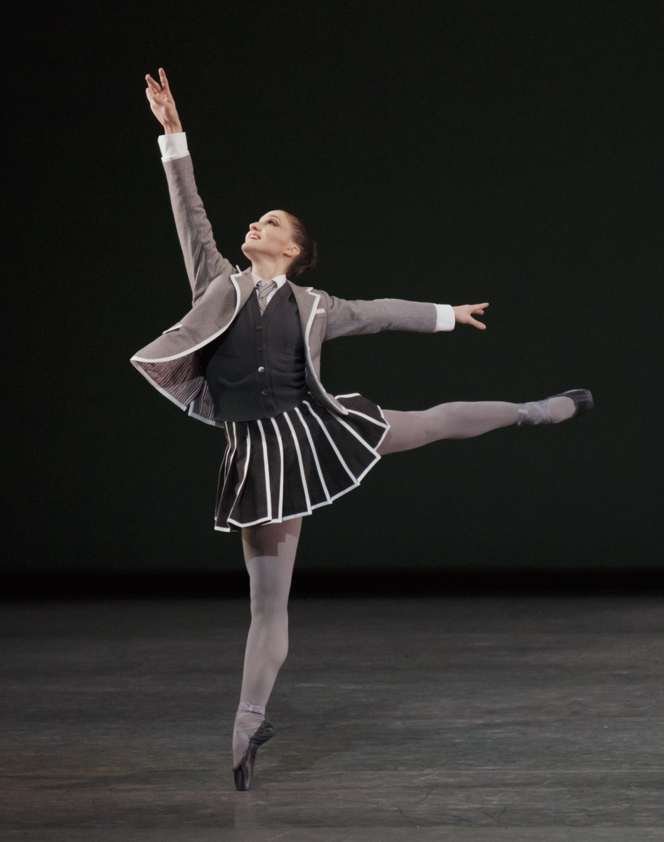 Ashley Bouder in Troy Schumacher's Clearing Dawn, in a costume by Thom Browne. Photo: Paul Kolnik.