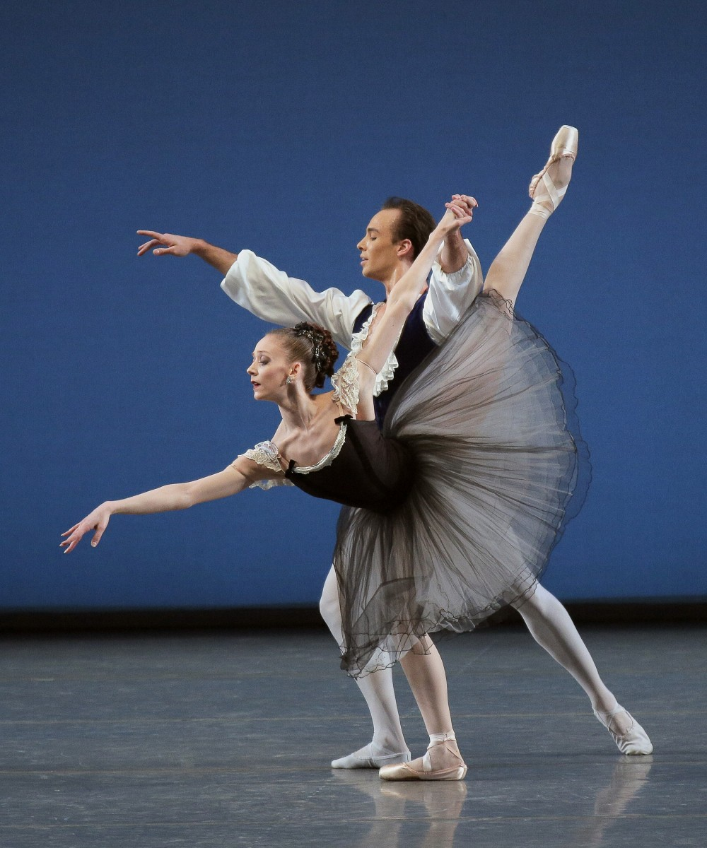 Maria Kowroski and Tyler Angle in BalanchineaAAAA€AAAA™s Mozartiana. Photo credit: Paul Kolnik
