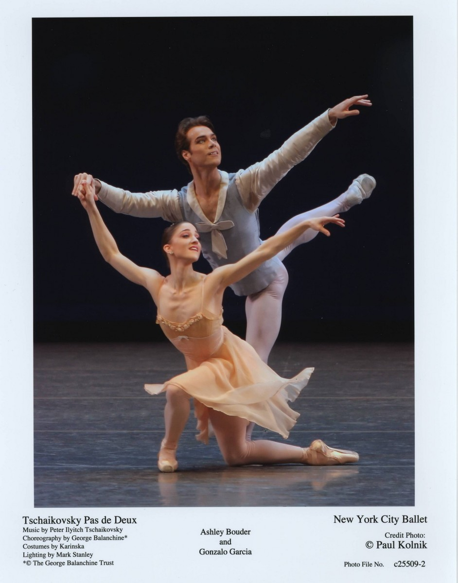 Ashley Bouder and Gonzalo Garcia in BalanchineaAAAA€AAAA™s Tschaikovsky Pas de Deux. Photo credit: Paul Kolnik