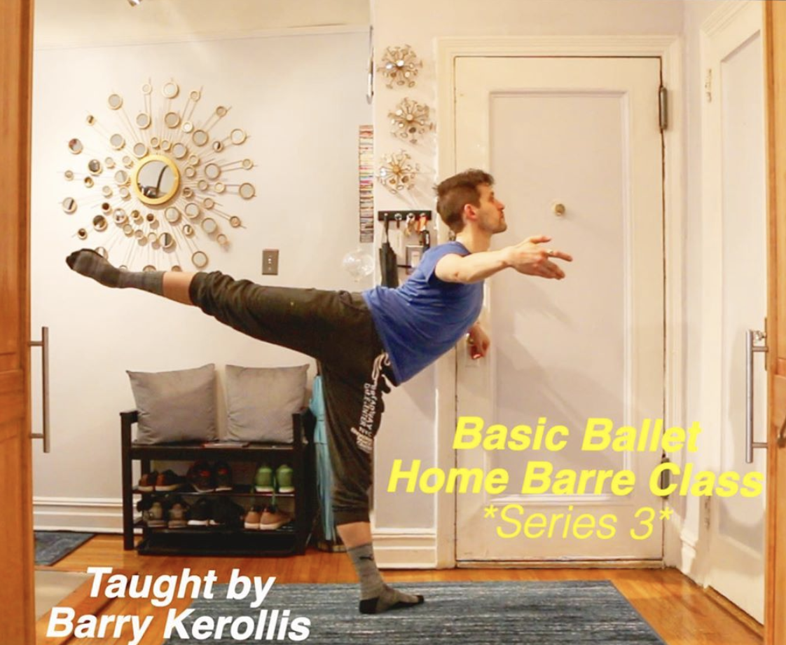 Barry Kerollis does an arabesque in his apartment