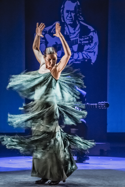 Sara Baras wears a jade green dress with fringe. As she spins with her arms over her head, the fringe splays all around her.