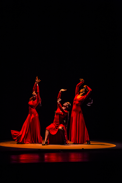 3 women flamenco dancers in