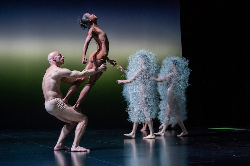One dancer stands on the thighs of her partner who balances her. Two dancers in the background wear transparent-looking cocoon costumes.
