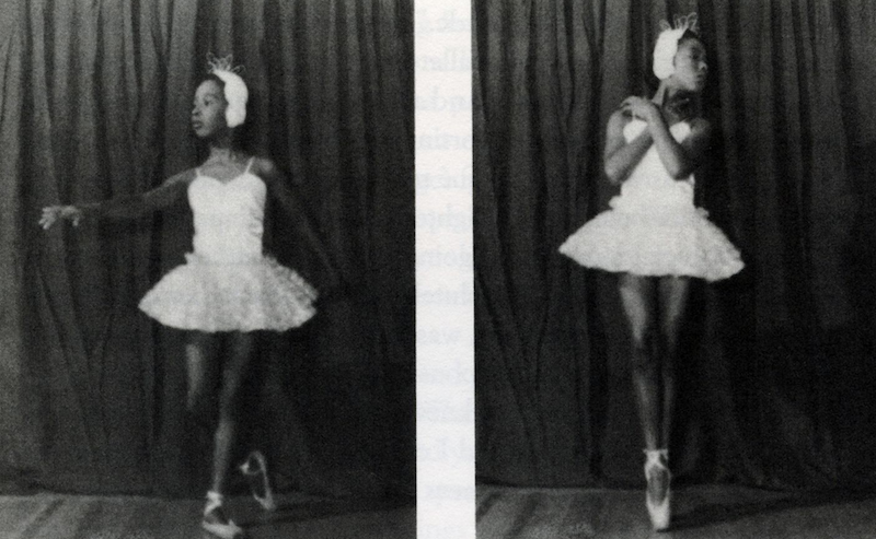 Two old stills of Judith Jamison as a young ballet student. She wears a white tutu, Swan Lake-looking headpiece, and pointe shoes.